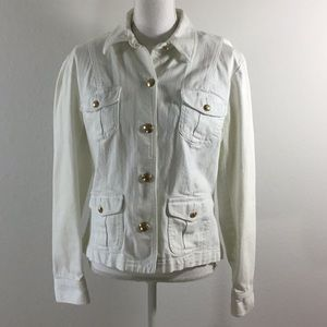 Chaps White Denim Jean Jacket Gold Buttons Size M